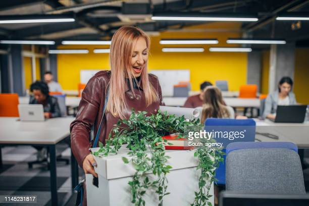 eerste dag van de vrouw op kantoor - dag 1 stockfoto's en -beelden