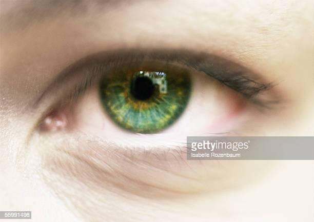 Woman's green eye, close up.