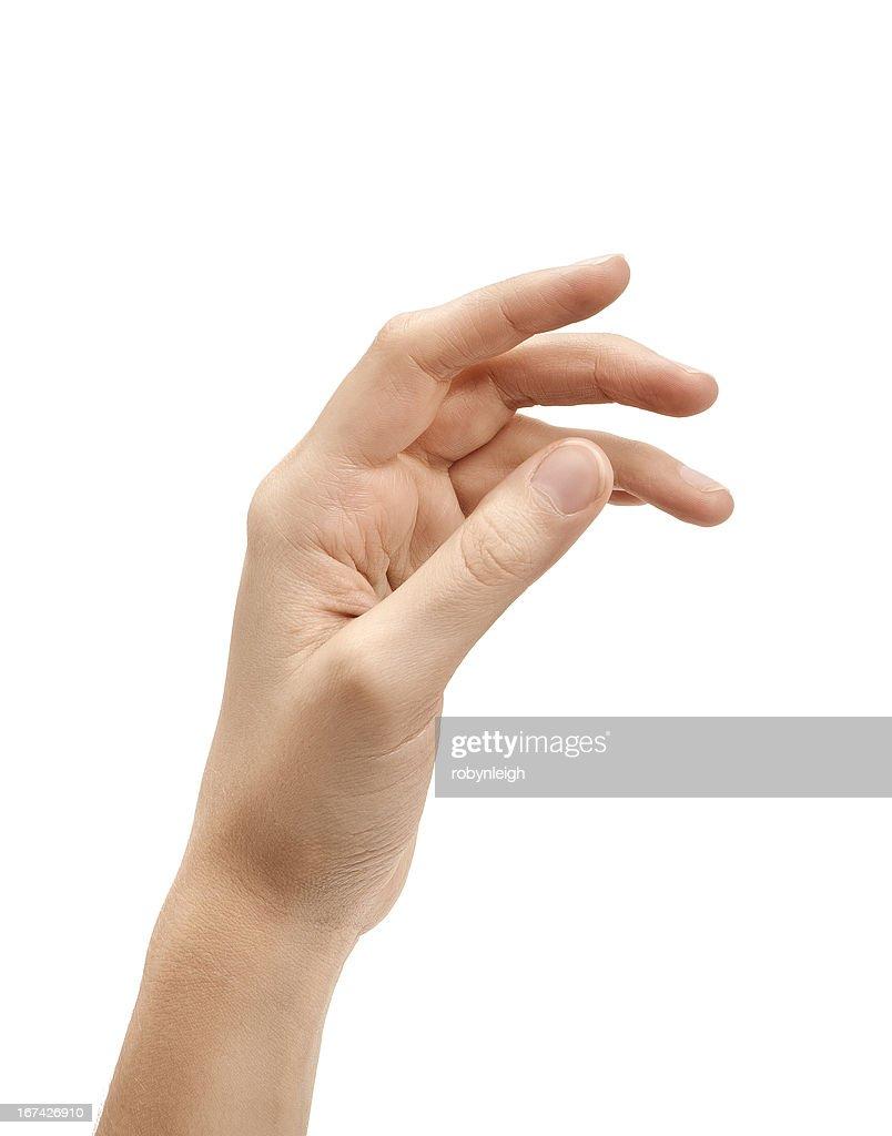 Mano de mujer contra fondo blanco : Foto de stock