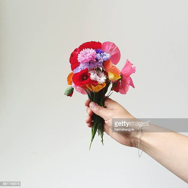woman's hand holding bunch of wildflowers