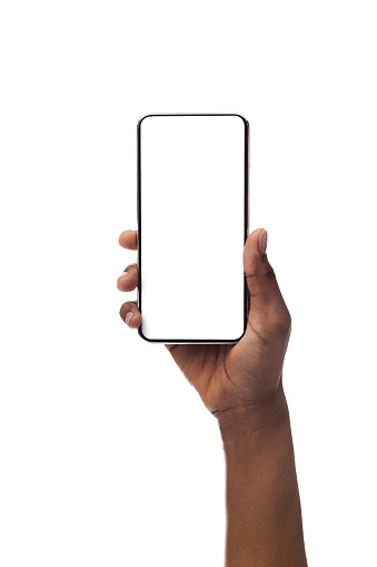 Woman's hand holding smartphone with blank screen, isolated on white background 1178963128