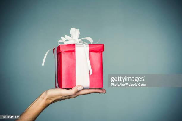 womans hand holding wrapped gift - geben stock-fotos und bilder