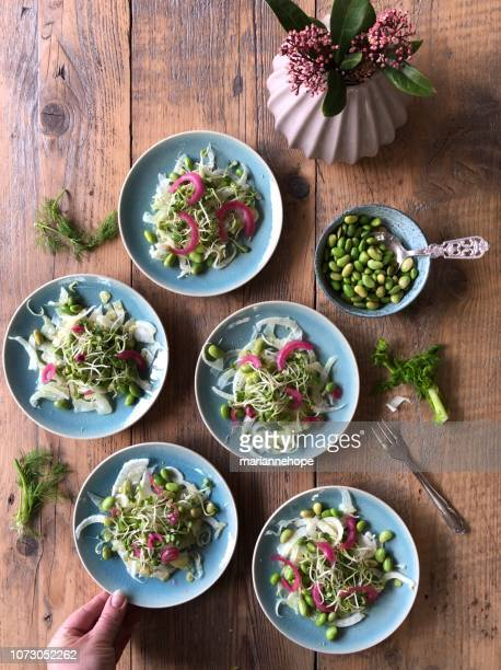 Woman's hand serving plates of Edamame, sprouts and fennel and red onion salad