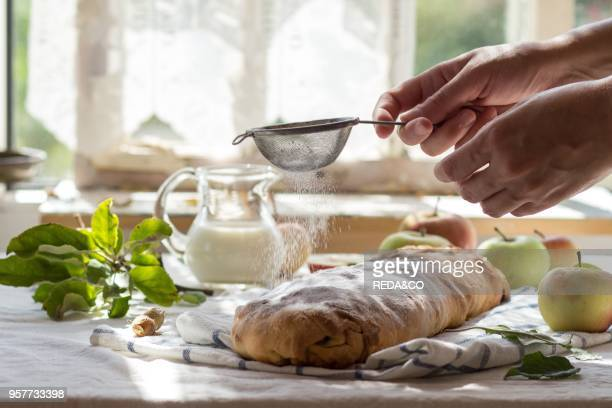 Woman's hand sprinkle with powdered sugar fresh baked homemade apple strudel over towel on kitchen table with jug of milk and apples With window as...