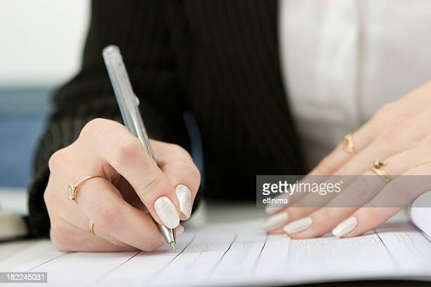 Mulher mão Escrever