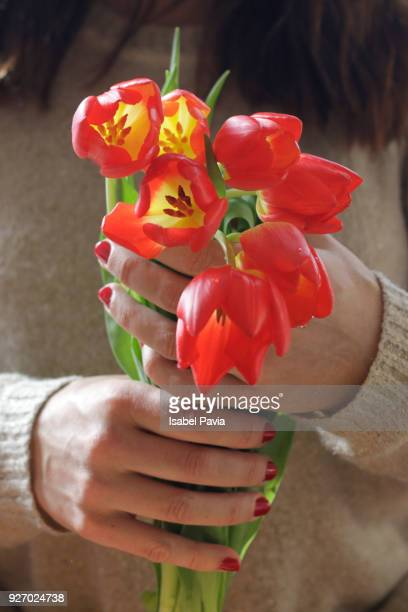 Woman's hands holding a bouquet of tulips