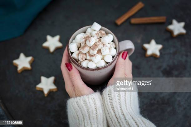 woman's hands holding cup of hot chocolate with marshmellows at christmas time - hot chocolate stock pictures, royalty-free photos & images