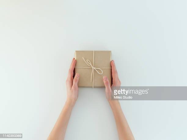 woman's hands holding holiday gift - gift hand stock-fotos und bilder