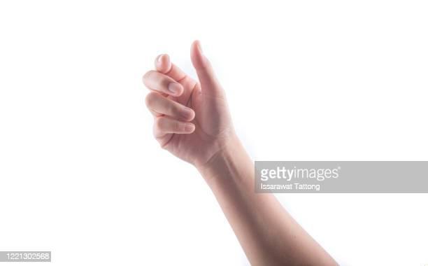 woman's hands holding something empty  isolated on white background. - halten stock-fotos und bilder