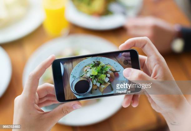 woman's hands photograph her meal with her mobile phone - photography themes stock pictures, royalty-free photos & images