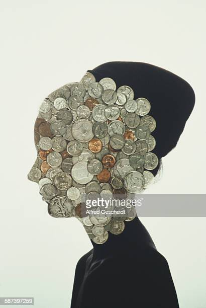 A woman's head with US coins superimposed on it 1978
