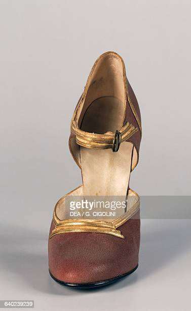 Woman's high-heeled sandal with gold edging, 1930-1939. Italy, 20th century. Vigevano, Castello Visconteo Sforzesco, Museo Della Calzatura E Della...