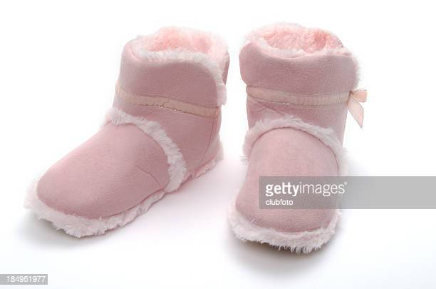 Womans indoor pink soft leather slippers