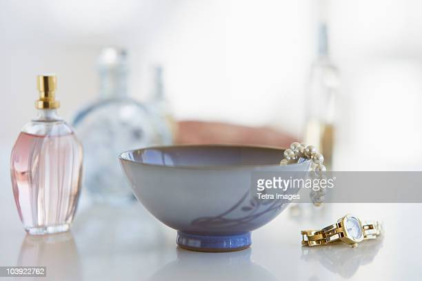 Woman's items on dresser