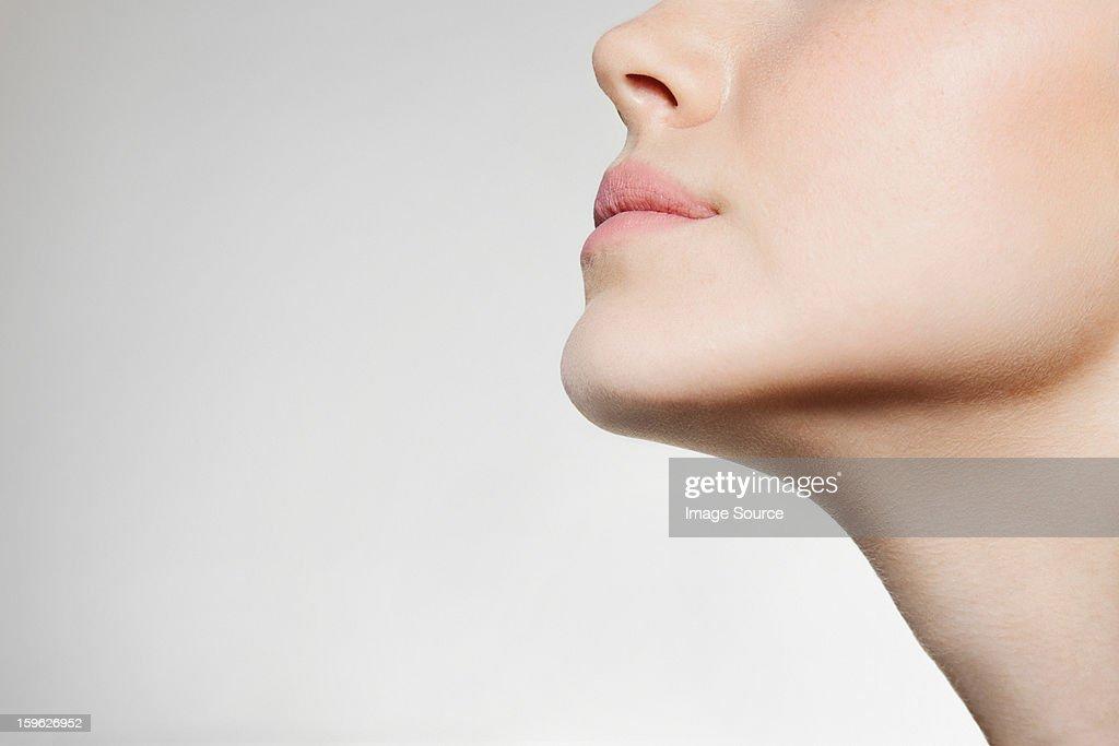 Womans jaw, low angle : ストックフォト