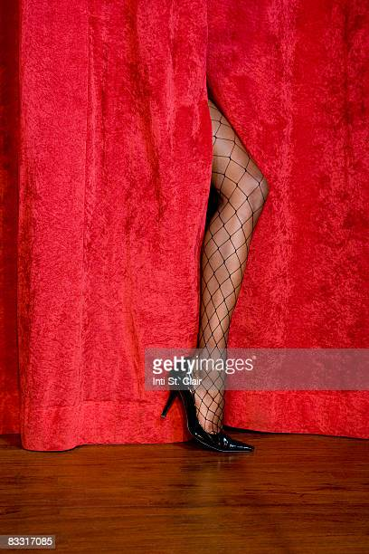 Woman's leg in fishnet stockings on stage
