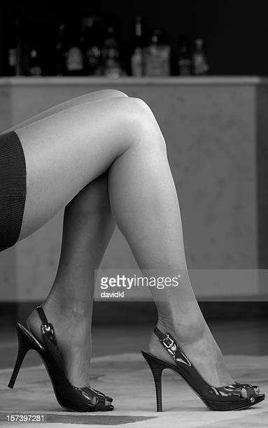 woman's legs and high heels black white - older woman legs stock photos and pictures