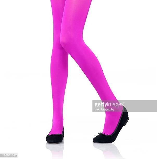 woman's legs modeling bright pink tights - black women wearing pantyhose stock pictures, royalty-free photos & images