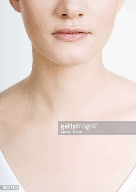 woman's lower face, neck and chest, close-up - cleavage close up stock photos and pictures