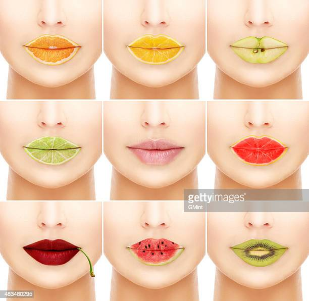 Woman's mouths with fruity lip gloss.