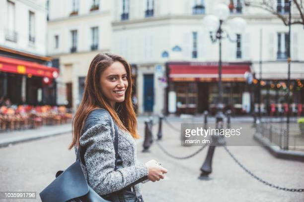 woman's portrait in paris - french women stock photos and pictures