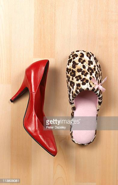 Woman's red high heel shoe with slipper