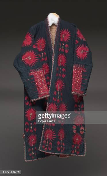 Woman's robe with crimson flora late 1800s Uzbekistan Karakapak Republic Khorezm Plain weave cotton embroidery silk cotton tabletwoven neck edge to...