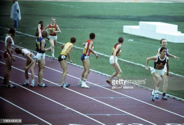 Women 4x100 relay at the Summer Olympics in Montreal 1976 Brigitte Rohde has already passed to Ellen Streidt while Natalia Sokolova Pam Jiles...