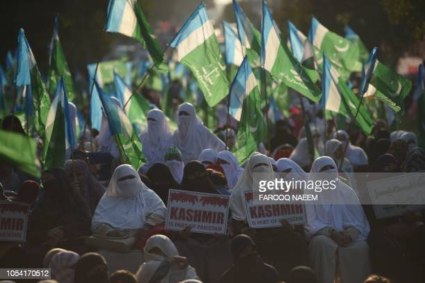 Women activists of Pakistani group JamaateIslami gather during an antiIndia protest in Islamabad on October 27 2018 Protesters in Pakistan observed a...