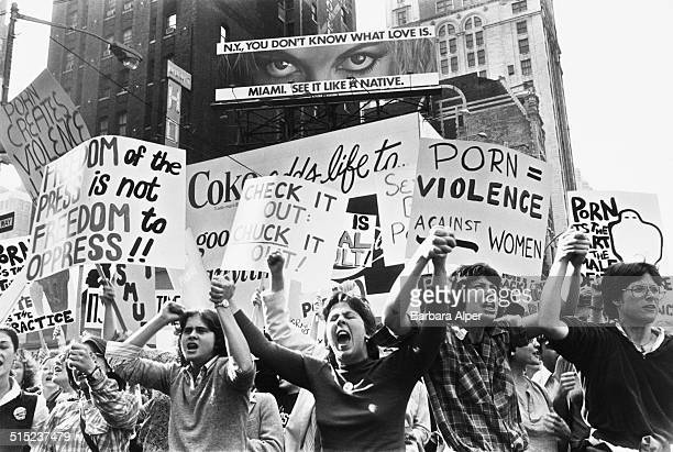Women Against Pornography demonstrators march on Times Square New York City USA 20th October 1979