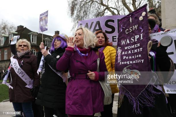 Women against state pension inequality protest outside the Houses of Parliament in central London on March 13 as Britain's Chancellor of the...