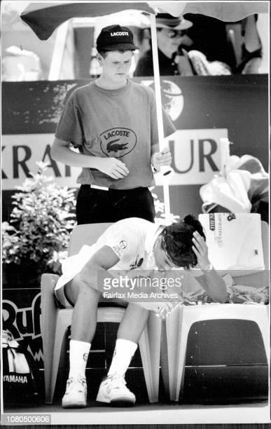 Women amp Singles FinalGabriela Sabatini V Arantxa Sanchez VicarioSabatini cools off with water in one of the breaks January 12 1992