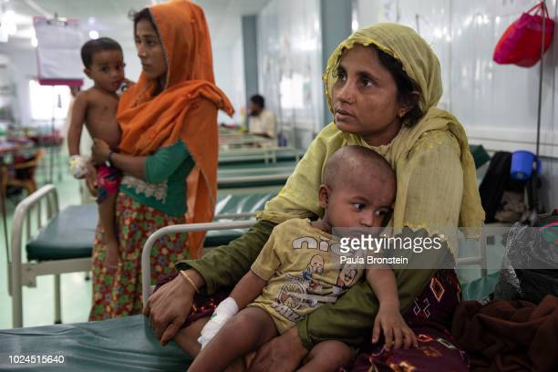 Women and children are seen being treated in the Médecins Sans Frontières/Doctors Without Borders children's ward August 27 2018 in Balukhali camp...