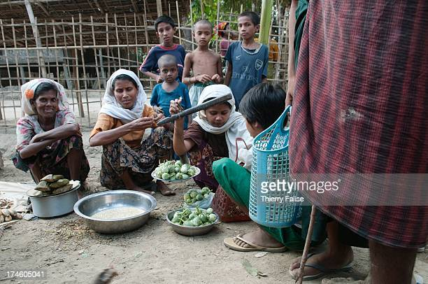 Women and children in a market in Paungdok a Rohingya village with about 500 hourses and 5000 people