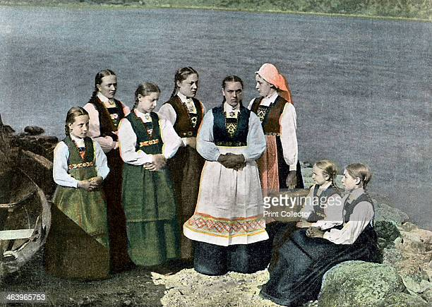 Women and children in national costume Sognafjorden Norway c1890 Illustration from Norvege et Suede Types et Costumes by L Boulanger