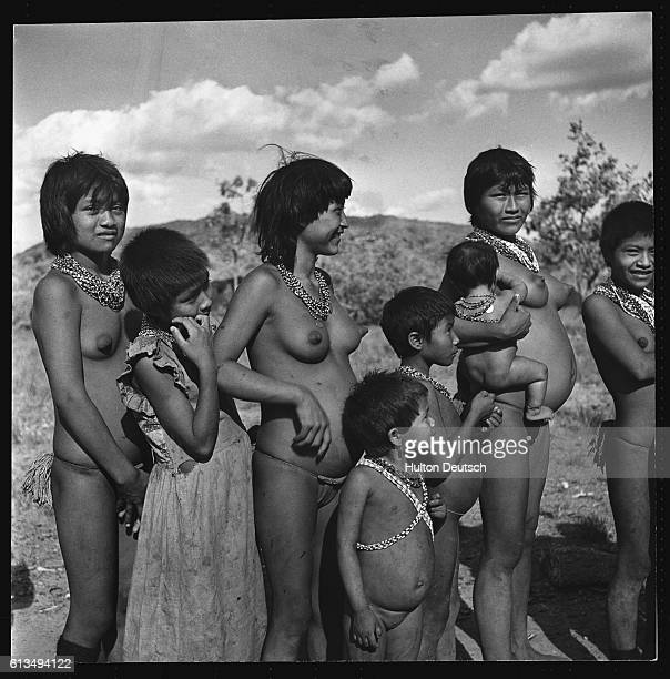 Women and children of the Panare tribe in Venenzuela ca 1950's | Location Orinoco Venezuela