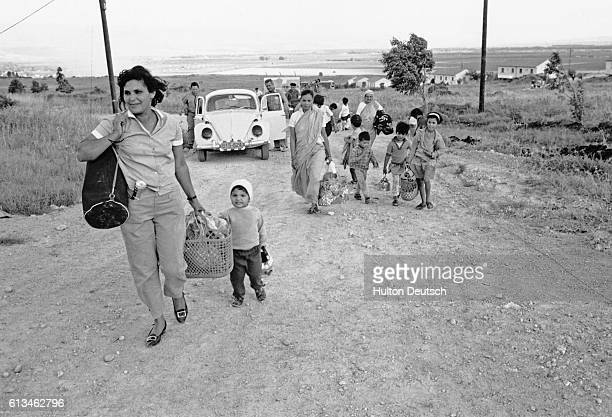 Women and children on the march as a result of the Israeli advancement into Syria during the SixDay War