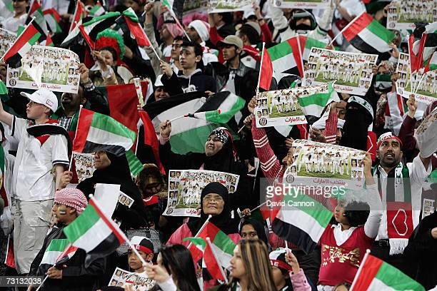 Women and children watch from a special section during the Arabian Gulf Cup SemiFinal match against Saudi Arabia in the AlJazira Stadium on 27th...
