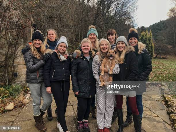 women and dog ready for christmas walk - photography stock pictures, royalty-free photos & images
