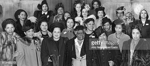 Women and educator and Civil Rights activist Mary McLeod Bethune during a National Council of Negro Women event Philadelphia Pennsylvania 1945