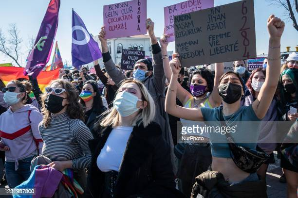 Women and LGBTQ activists in Istanbul to protest the withdrawal of Turkey's Istanbul Convention, in Istanbul, Turkey, on March 27, 2021. According to...