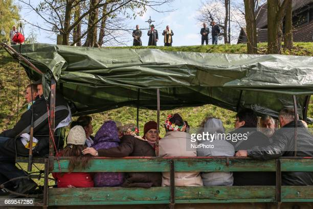 Women and men ride during the traditional horse riding procession on Easter Monday in Zernica village near Gliwice Poland 17 April 2017 During the...