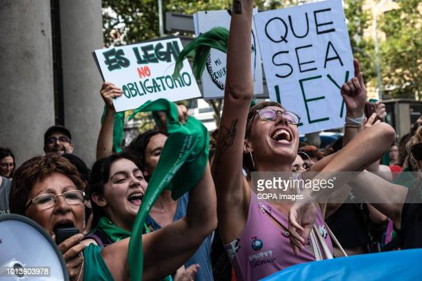 Women are seen shouting slogans during the protest 300 people mostly argentines and women gathered before the Consulate of Argentina in Barcelona...