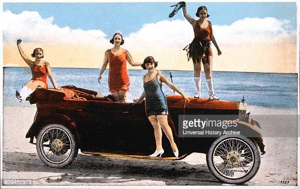 Women Around Convertible Automobile on Beach California USA handColored Photograph circa 1930