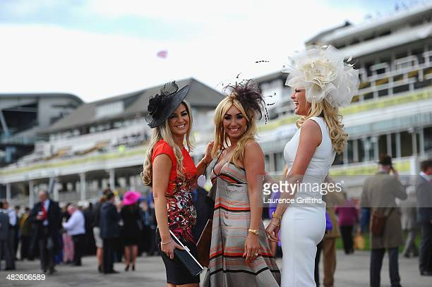 Women arrive for Ladies Day at Aintree Racecourse on April 4 2014 in Liverpool England