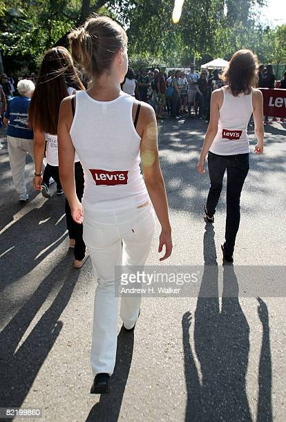 Women arrive to participate in the Levi's Size Does Matter game on August 6 2008 in New York City