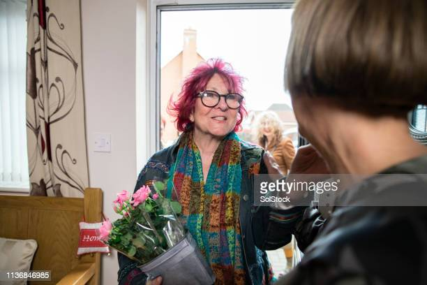women arriving to their friend's dinner party - offbeat stock pictures, royalty-free photos & images