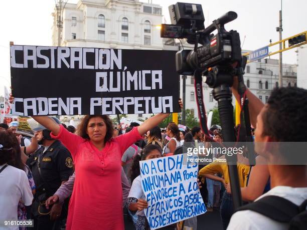 Women asking for chemical castration when thousands marched through the streets of Lima towards the courthouse to demand greater protection for...
