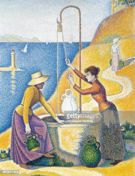 Women at a Well by Paul Signac 19th Century oil on canvas5 x 130 cm France Paris Musée d'Orsay Detail Two women draw water from a well near the sea A...
