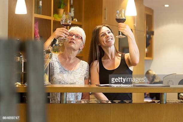 women at counter in wine bar checking clarity of wine - sigrid gombert imagens e fotografias de stock